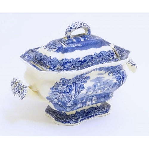 40 - A Mason's ironstone china lidded tureen in the blue and white pattern 'Vista'. Marked under. Approx....