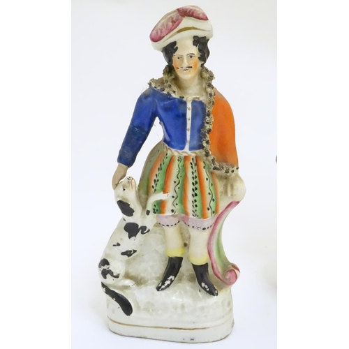 42 - Three 19thC flatback Staffordshire pottery figural groups, to include Bonnie Prince Charlie and Flor...