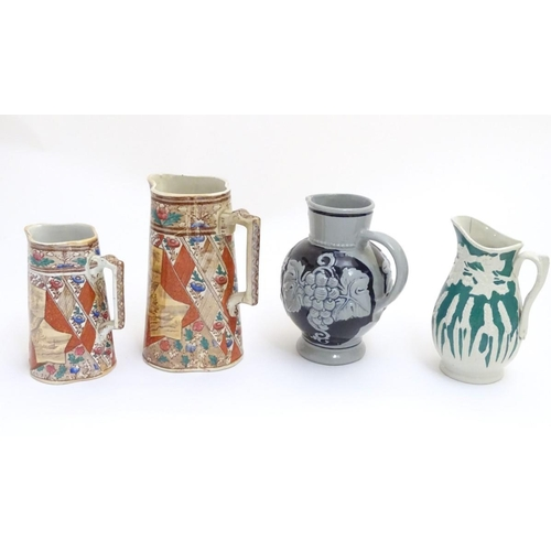 48 - Four assorted jugs, two of quatrefoil form with transfer decoration of panelled flower and sepia lan...