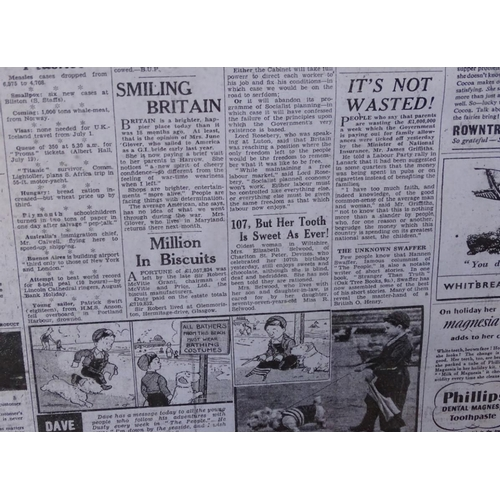 12 - 3 framed prints of The People newspaper from 1940's...