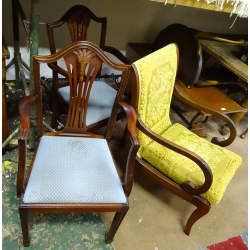 18 - Three assorted chairs to include 2 carvers and an armchair...