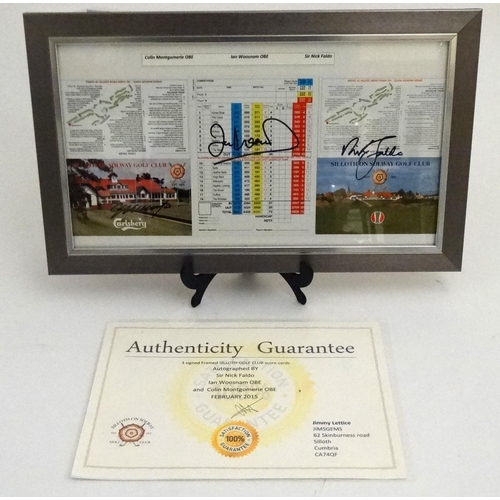 33 - Golf: Three signed Siloth Golf Club score cards, autographed by Sir Nick Faldo, Ian Woosnam OBE and ...