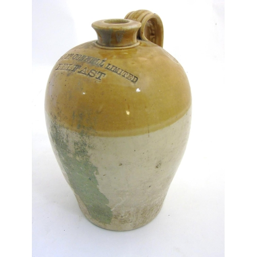 37 - Flagon: A stoneware 2-tone flagon made by Port Dundas Pottery Co. Glasgow for  J & J Mc. Connell Lim...