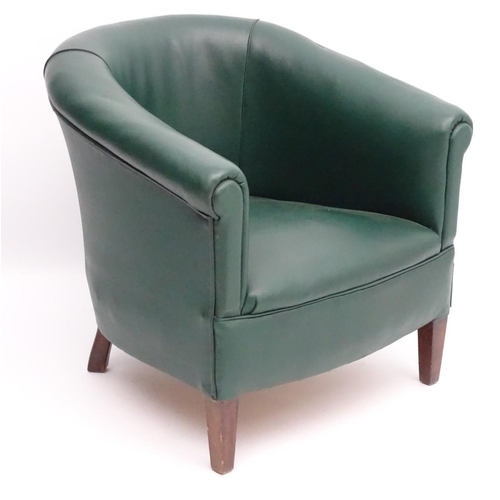 48 - A mid 20thC green tub chair standing on squared tapering legs. 28'' wide x 25'' deep....