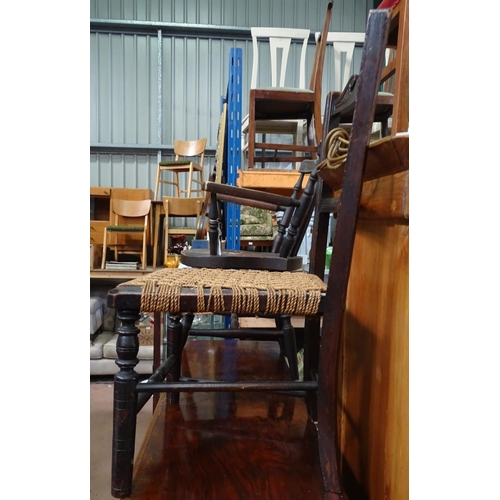 50 - 2 children's/dolls chairs, one rush seat and the other German made...