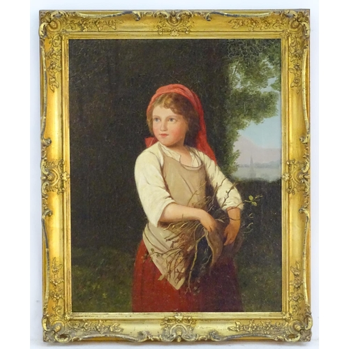 XIX-XX, German School,  Oil on canvas,  Gathering Sticks, A portrait of a young girl gathering sticks in a landscape with a church spire in the distance. Possibly an original image for one of the advertising trading cards for Compagnie Liebig / Liebig's Extract of Meat Company, trading cards production began in 1872 and featured stories and historical scenes. As the popularity of the cards grew, famous artists were commissioned to design a series of cards. (0039) Approx. 17 3/4'' x 13 3/4''