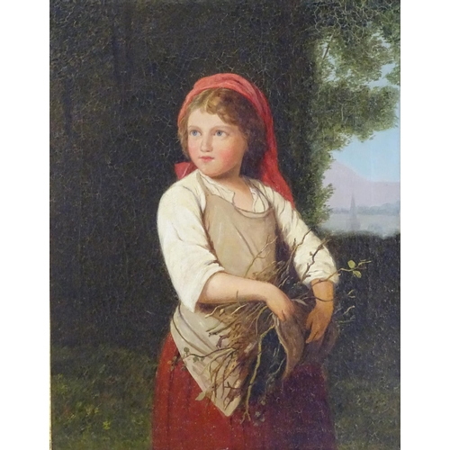 9 - XIX-XX, German School,  Oil on canvas,  Gathering Sticks, A portrait of a young girl gathering stick...