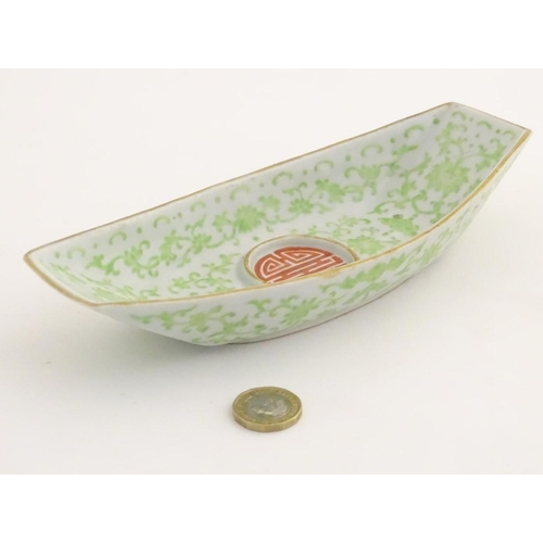 8 - A Chinese standish / inkstand dish of oblong form, decorated with scrolling flowers and foliage and ...