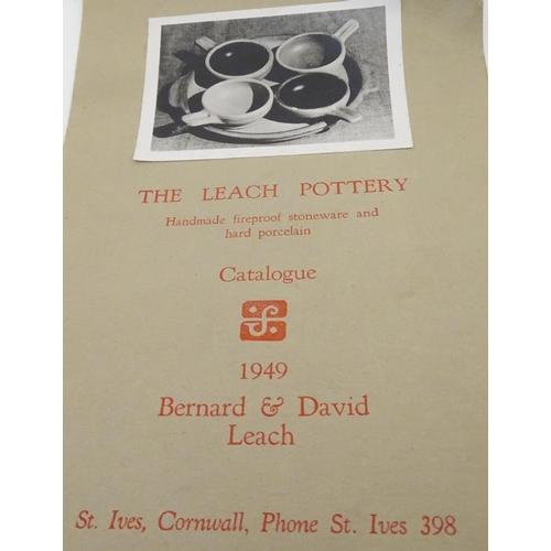 47 - A Leach Pottery, St. Ives, stoneware egg baker / ramekin with a single handle. Impressed studio pott...