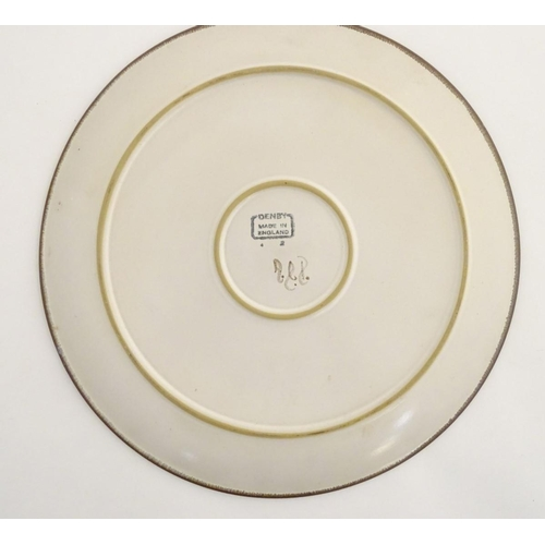 50 - A 20thC Denby platter / large plate with banded heart and shape decoration. Marked under. Approx. 12...