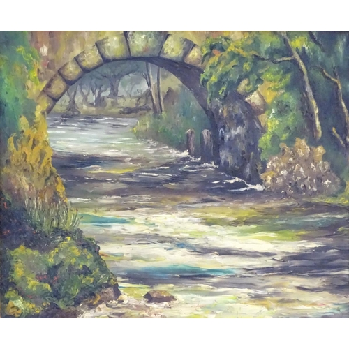 718A - XX, English School, Oil on board,  A stone arch bridge over a wooded river with wild flowers, Approx...