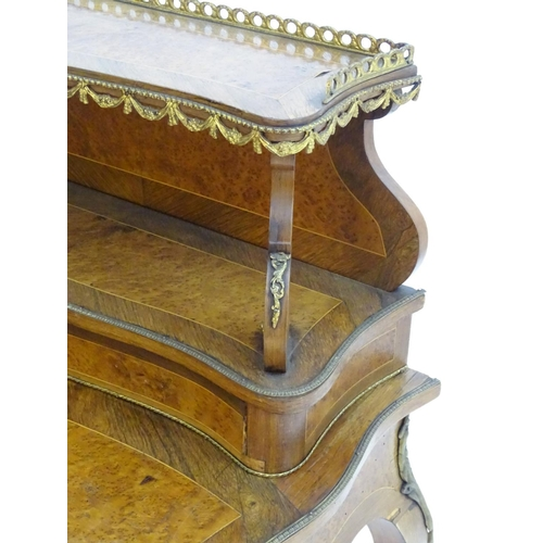 1077 - A 19thC burr walnut Bonheur du jour with brass gallery and hanging ormolu swags with scrolled suppor...