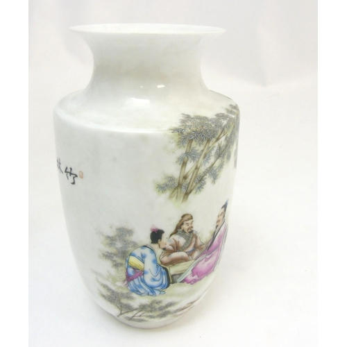 22 - A Chinese vase with flared rim, depicting oriental male figures in an outdoor scene across body and ...