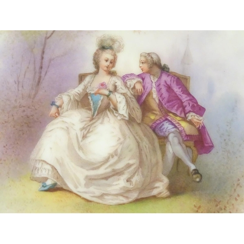39 - A cabinet plate in the manner of Sevres, decorated with an 18thC gentleman and lady sat in a garden ...