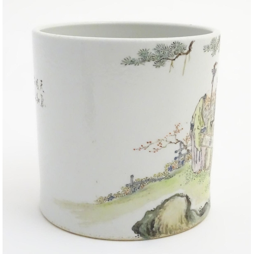 4 - A large Chinese famille rose pot/planter, depicting five elders in a landscape with a scroll with a ...
