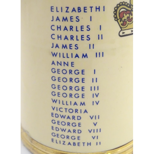 34 - A Gibson Staffordshire commemorative tankard. The Sovereign Tankard, decorated with E R (Elizabeth R...