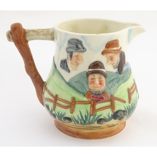 38 - Hunting: A Sandland Ware jug, titled Uncle Tom Cobleigh and All. Decorated with an English landscape...