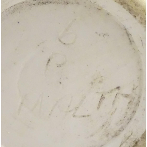 45 - A Bristow studio pottery vase with a flared rim and vertical incised decoration. Marked under b p (B...