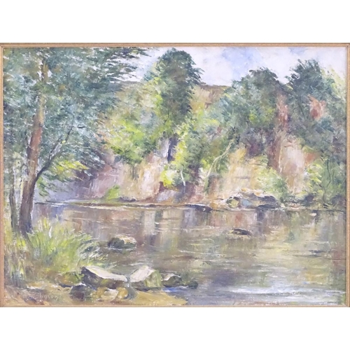 719 - Ken Johnson, XX, English School,  Oil on canvas,  A wooded river landscape.  Signed lower left.  App...