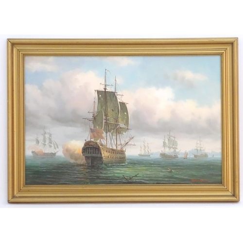 720 - James Hardy, XX, Marine School,  Oil on canvas board,  A Naval engagement with war ships firing, flo...