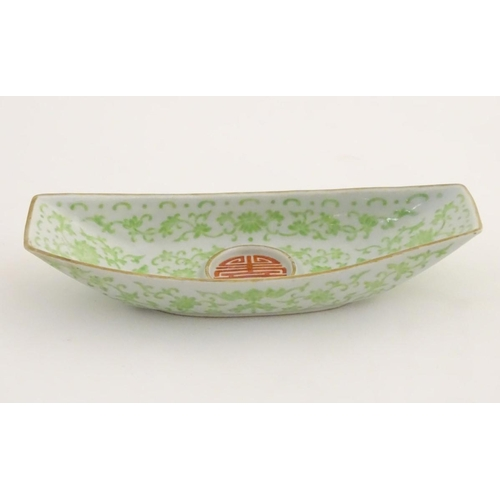 11 - A Chinese standish / inkstand dish of oblong form, decorated with scrolling flowers and foliage and ...