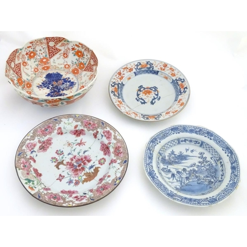 16 - A quantity of oriental ceramics, to include an 18thC floral plate, an Imari bowl with panelled decor...