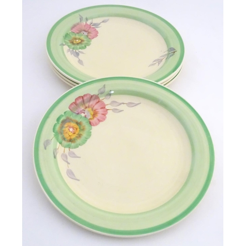 45 - A quantity of teawares with ribbed detailing and floral decoration, to include 3 tea cup, 2 saucers ...