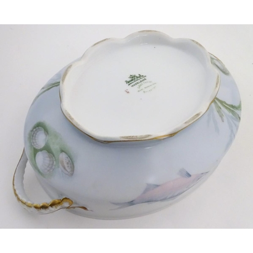 59 - A late 19thC Rosenthal oval scallop shaped tureen with a lobed gilt edged rim, decorated with underw...
