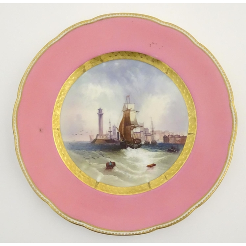26 - A pair of early 20thC Copeland marine dessert plates, one with a view of Margate, with ships and a l...