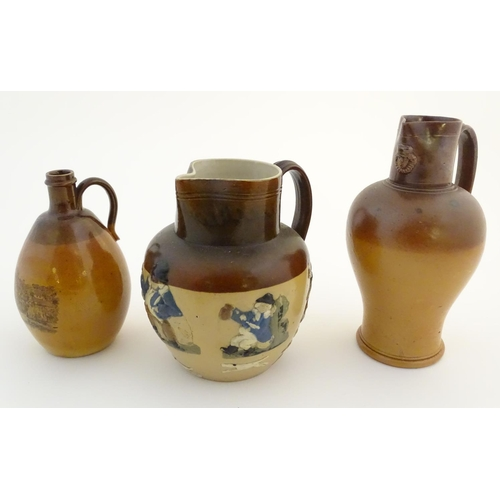 27 - Two Doulton Lambeth jugs, a stoneware jug decorated with a view of Dunkeld Cathedral, and a stonewar...