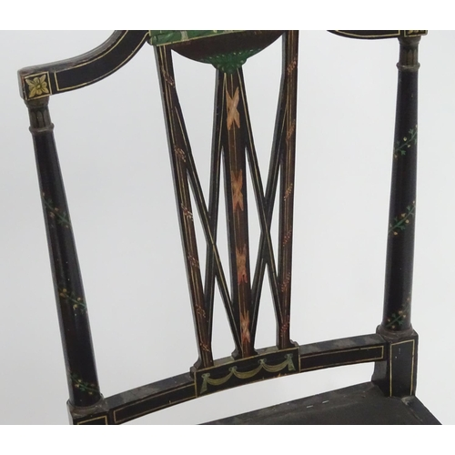 1050 - Three Regency chairs of Neo-classical design with ebonised and painted frames, shaped top rails, pie...