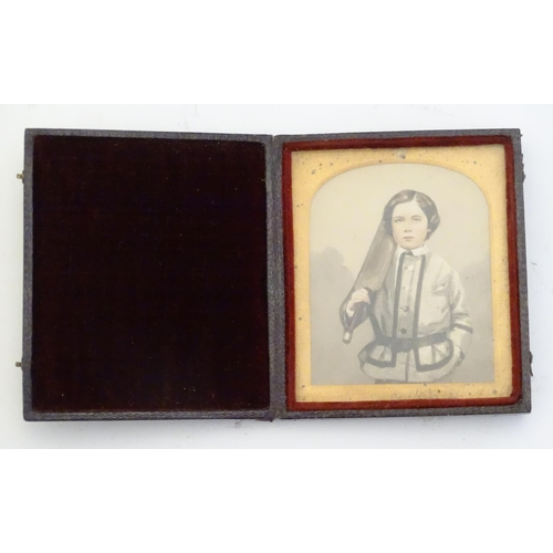 "Cricket Interest Watercolour: A 19thC watercolour portrait miniature of a young boy, William Coulthurst Gibbons, wearing a belted jacket and holding a cricket bat. In arch mount.  Ascribed to the case verso August 1860, William Coulthurst Gibbons, born 12th December 1852. Portrait approx. 2 3/4"" x 2 1/4""  William Coulthurst Gibbons was the second son of William Barton Gibbons, Esq., J.P., of the island of Barbados. William was born in Barbados, trained as an engineer, working in various countries, including England and India."