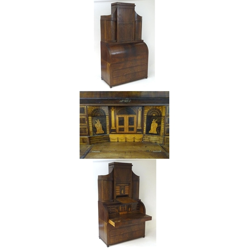 """A 19thC mahogany three part bureau bookcase with a rolling cylindrical front opening to show a fitted interior profusely decorated with marquetry and parquetry inlays alongside cross banded drawers and decorative stringing. Having multiple cupboards and drawers including four long drawers, the topmost drawer sliding out to show adjustable writing slope and sliding compartments. 50"""" wide x 25"""" deep x 89"""" high"""