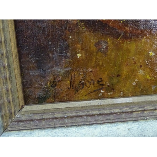 4 - Indistinctly signed E. Moore, XX,  Oil on canvas laid on board,  Thoughts far away,  A young girl re...