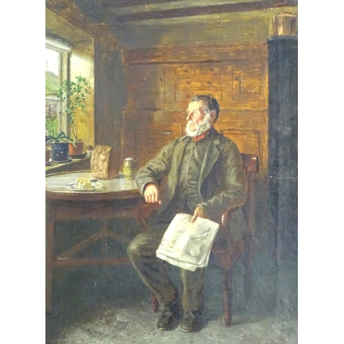 5 - Walter Tomlinson (c.1833 - 1909), English School, Oil on canvas, Bad News From the War,  An interior...