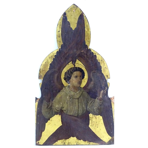 7 - XIX, Ecclesiastical School, Oil on copper mounted on shaped wooden panel, A seraph angel with his ha...