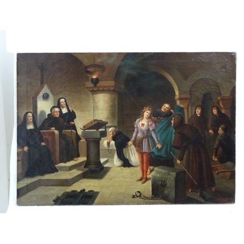 8 - Jack Leigh Wardleworth (1863-1925), Oil on canvas, The Inquisition,  A figure is brought before the ...