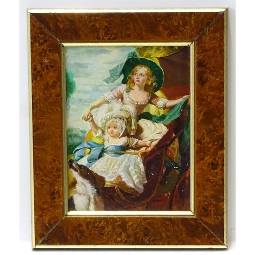 10 - After Copley, English School, XX, Oil on card laid on wood, A portrait of Princess Sophia and Prince...