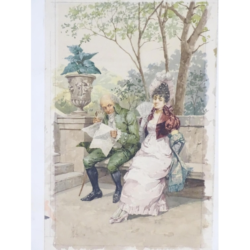 11 - Aurelio Roberti (1842-1915), Italian School, Watercolour,  A gentleman with a newspaper and lady wit...