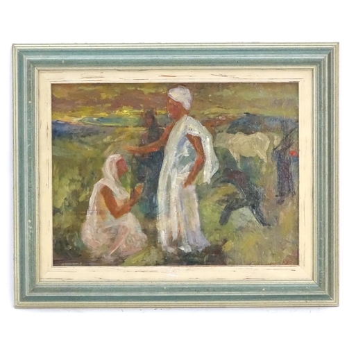 12 - Indistinctly signed, XX,  Oil on board,  A Middle Eastern / Indian landscape scene with a figure bei...