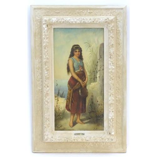 14 - E. Jolli, XIX, Italian School,  Oil on canvas,  Tambourine Girl,  A portrait of a young woman holdin...