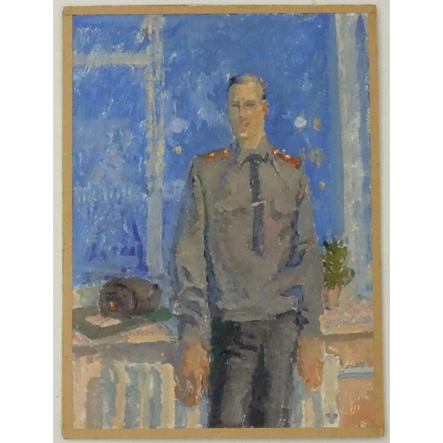 15 - Valery Grigorievich Kulik, (b. 1951), Ukrainian / Russian School,  Oil on card, 'Policeman', A portr...