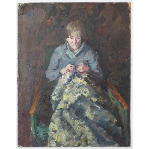 16 - Alexander Mikhailovich Gegunov, 1965, Ukrainian / Russian School,  Oil on board, 'Woman Knits', A po...