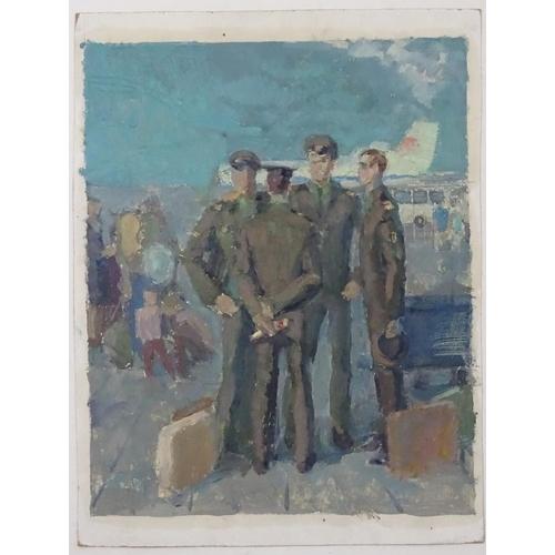 18 - Valery Grigorievich Kulik, (b. 1951), Ukrainian / Russian School,  Oil on card, 'The Pilots', A scen...