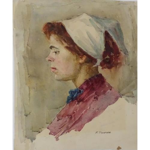 19 - Viktor Andreevich Gertsenok (1934-2017), Ukrainian / Russian School, Watercolour,  'Woman', 1959,  A...