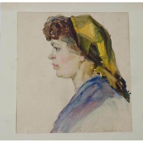 24 - Viktor Andreevich Gertsenok, 1960, Ukrainian / Russian School, Watercolour,  A portrait of a woman i...