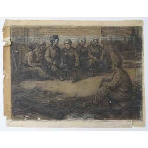 26 - Viktor Andreevich Gertsenok (1934-2017), Ukrainian / Russian School, Charcoal and pencil on paper,  ...