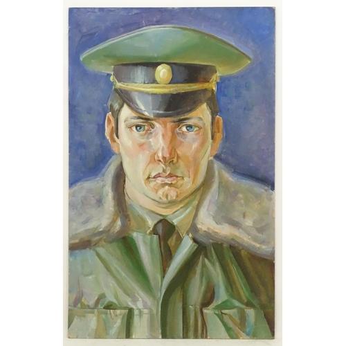 27 - Vladimir Nikolayevich Verbitsky, 1982, Ukrainian / Russian School,  Oil on board,  'Policeman', A po...