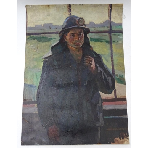 28 - Grigory Gaykovich Bagdasaryan (1922-1995), Ukrainian / Russian School,  Oil on thin card,  'Miner', ...