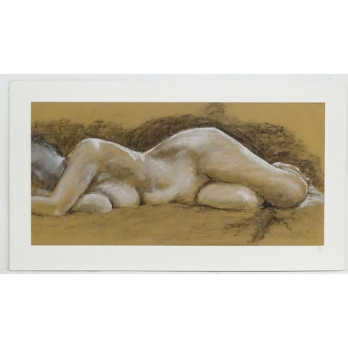 35 - Neil Wardle, XX, Charcoal and chalks, Reclining Nude, Signed in pencil lower right, Approx. 15 3/4''...